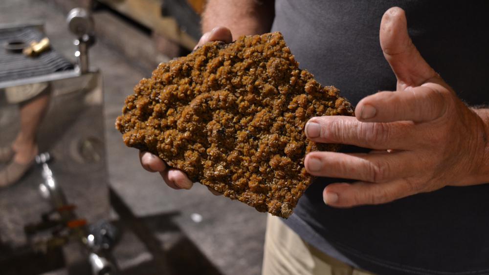 Quand elles ont fini leur travail de fermentation, les levures se déposent sur ces pierres à vin, à l'intérieur des tonneaux