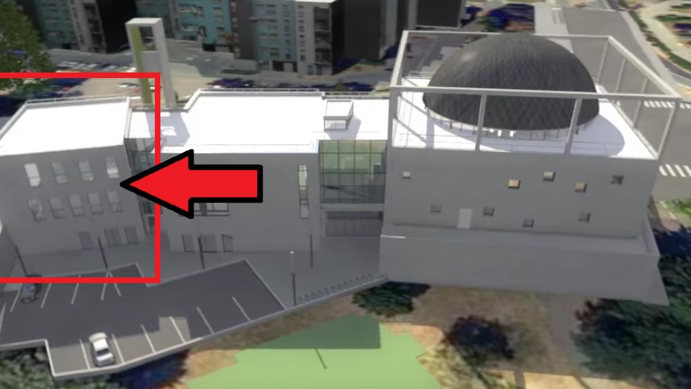 Les fondations de cette troisième aile ne sont pas encore coulées (commerces, bureaux etc.)