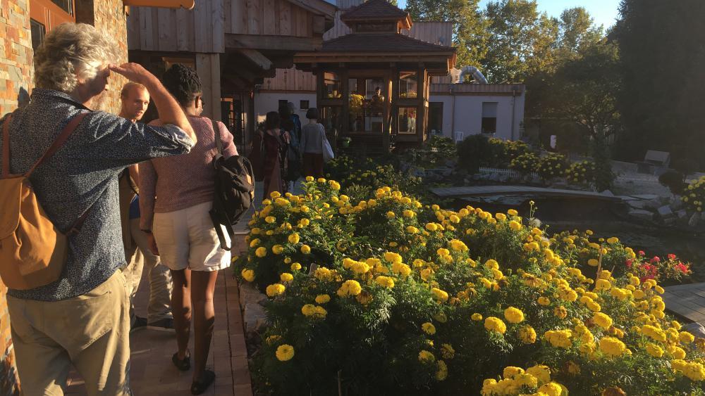 La pagode est ancrée dans la nature, entre arbres, fleurs, et étang rempli de poissons.